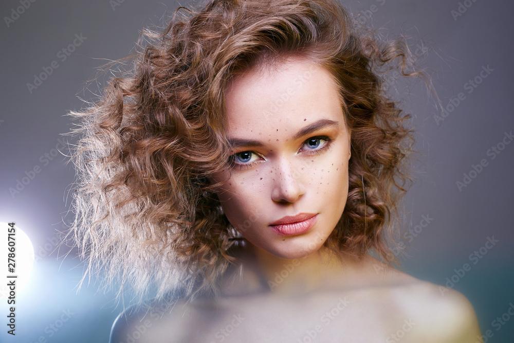 Fototapeta Beautiful woman. amazing curly girl with make-up