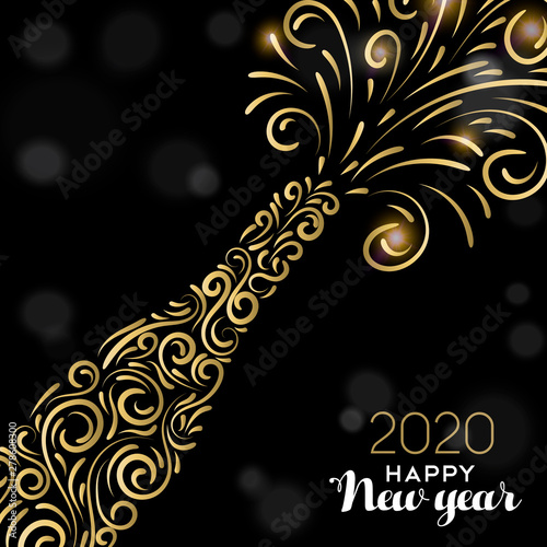 Obraz Happy New Year 2020 card of gold party drink - fototapety do salonu