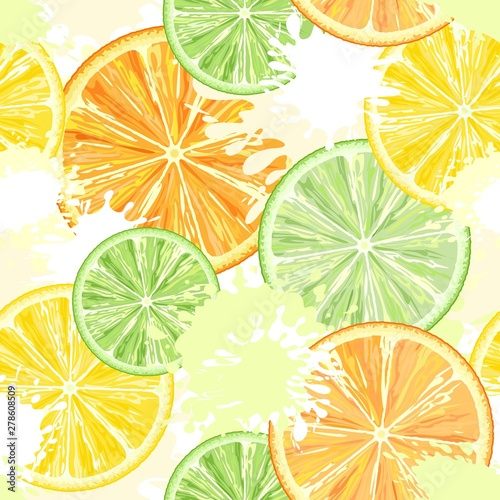 Foto auf Leinwand Ziehen Citrus Watercolors Vector Seamless Textile Pattern Background