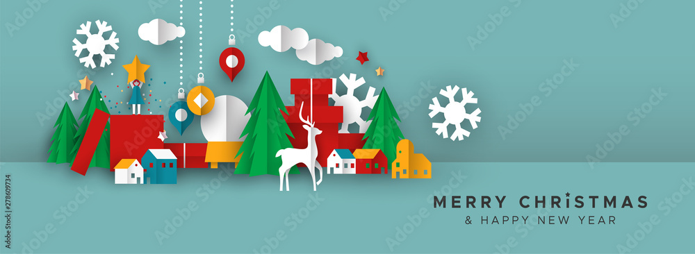 Fototapety, obrazy: Christmas and New Year banner of papercut toy city