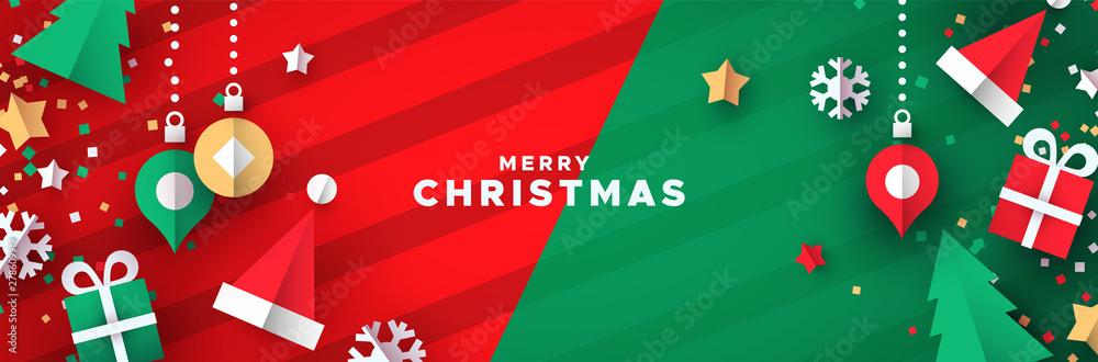Fototapeta Christmas banner of papercut holiday ornaments