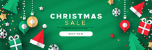 Christmas Sale Banner Of Paper 3d Ornament Icons