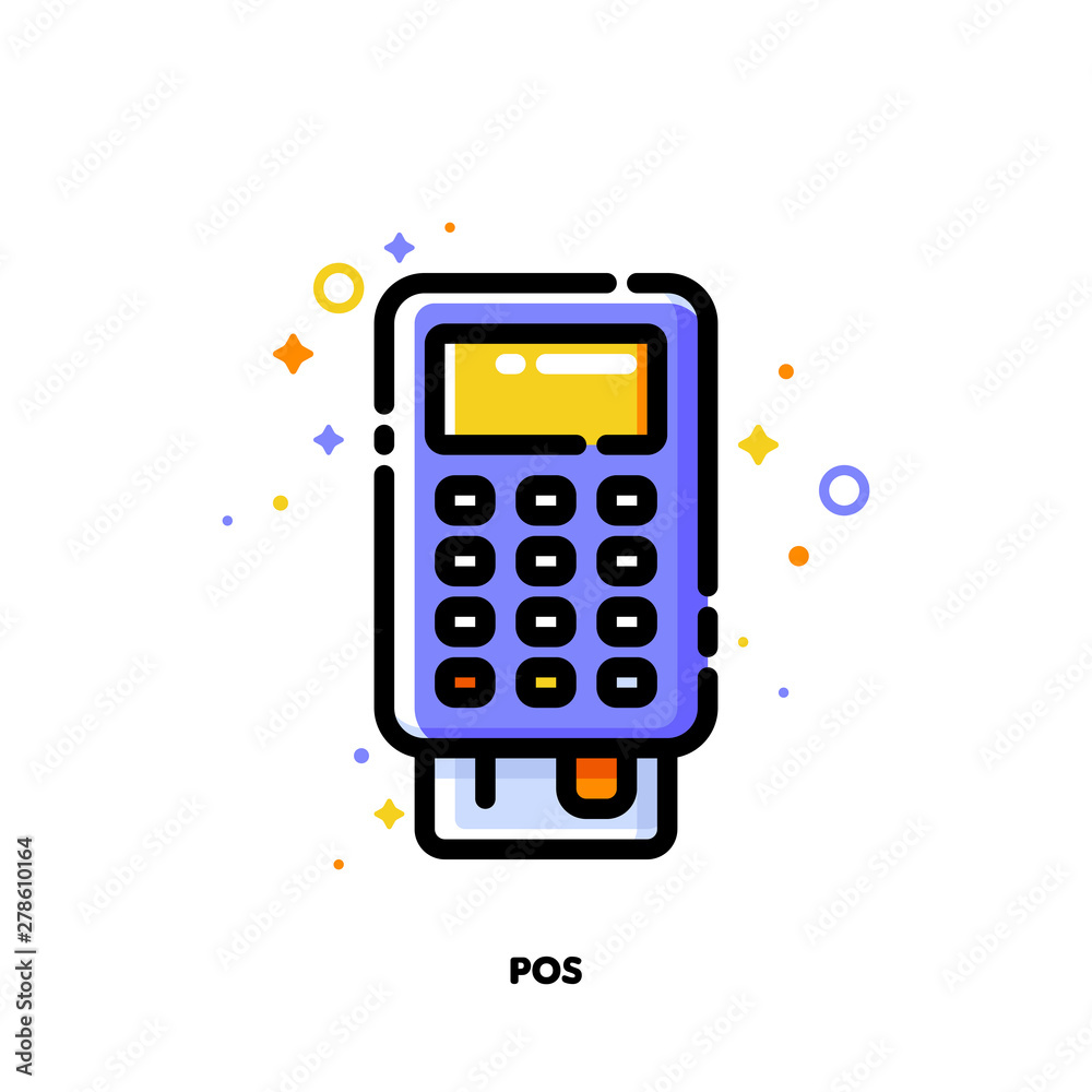 Fototapeta Icon of pos terminal or bank card reader for shopping and retail concept. Flat filled outline style. Pixel perfect 64x64. Editable stroke