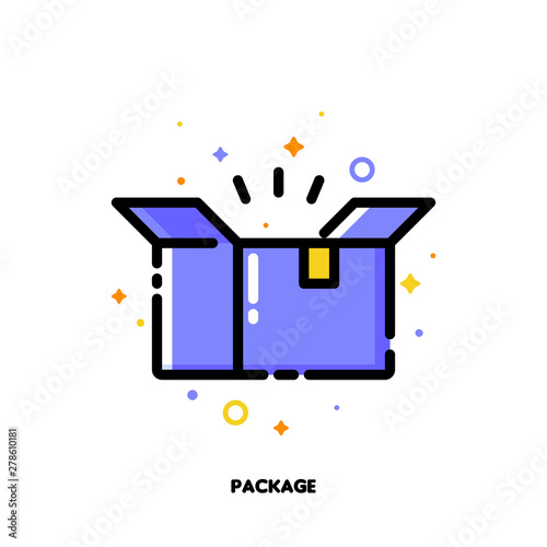Icon of open carton package box which symbolizes delivered parcel for shopping and retail concept Tapéta, Fotótapéta