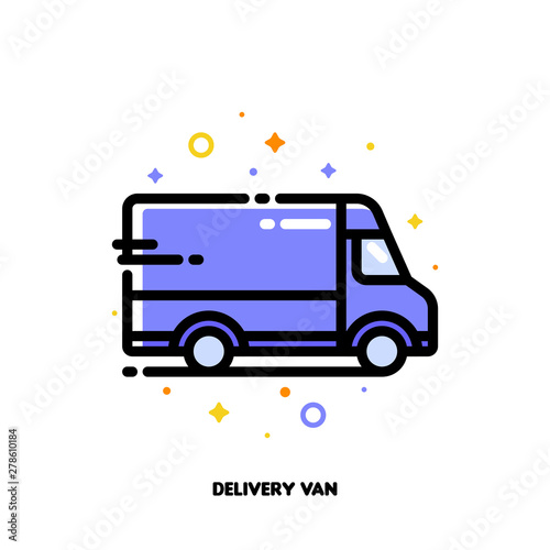 Icon of delivery van which symbolizes local delivery service or fast shipping for shopping and retail concept Tapéta, Fotótapéta