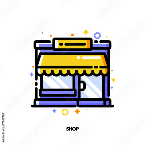 Wall Murals Draw Icon of small shop building or boutique with showcase for shopping and retail concept. Flat filled outline style. Pixel perfect 64x64. Editable stroke