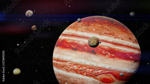 Fototapeta planet Jupiter with some of the 79 known moons in outer space
