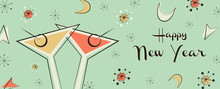 New Year Banner Of Vintage Mid...