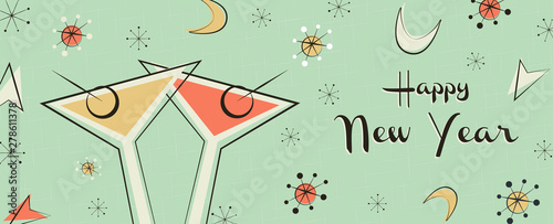 Photographie  New Year banner of vintage mid century party drink