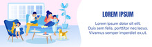Happy Family Spending Time At Home Ad Text Banner