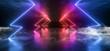 canvas print picture - Smoke Futuristic Neon Lights Laser Purple Blue Glowing Modern Retro Sci Fi Elegant Spaceship Club Night Dark Garage Underground Grunge Concrete Reflections Abstract Beams 3D Rendering