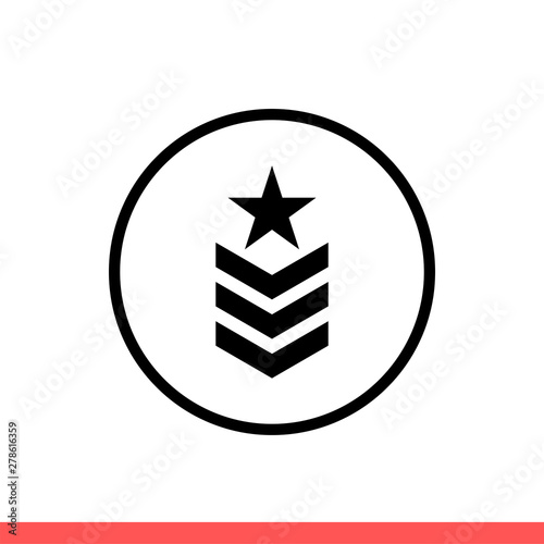 Military rank vector icon, army badge symbol Wallpaper Mural