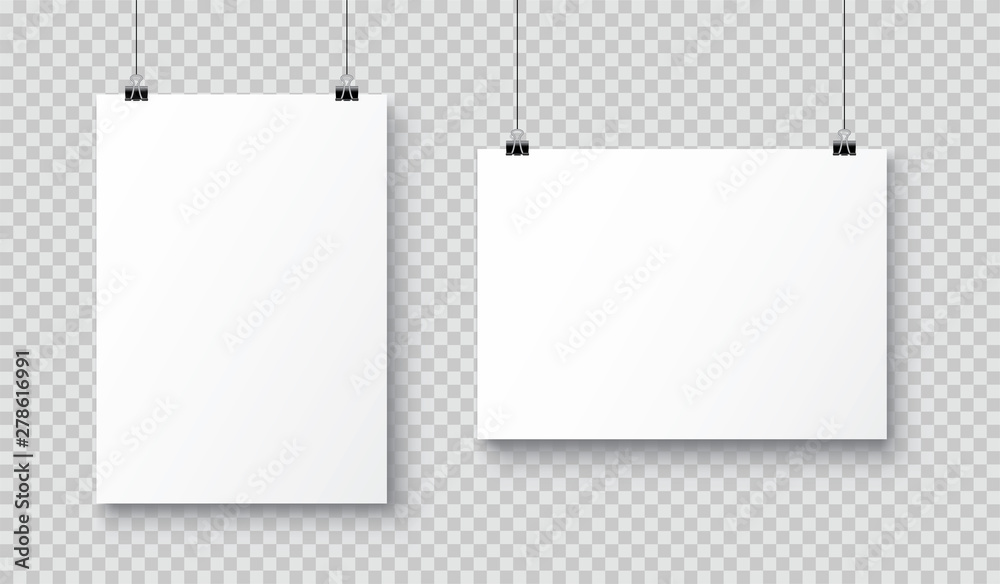 Fototapeta Vector realistic white blank A4 paper poster hanging on a rope with clip - stock vector.