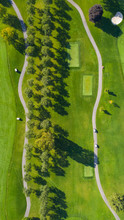 Aerial View Of A Golf Course Fairway And Sand Traps In Autumn Creating An Abstract Looking Perspective At Arrowhead Golf Course In Wheaton, IL - USA