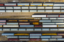 Aerial View Of Rail Cars Waiti...