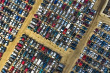 Aerial View Of Rows Of Old Car...
