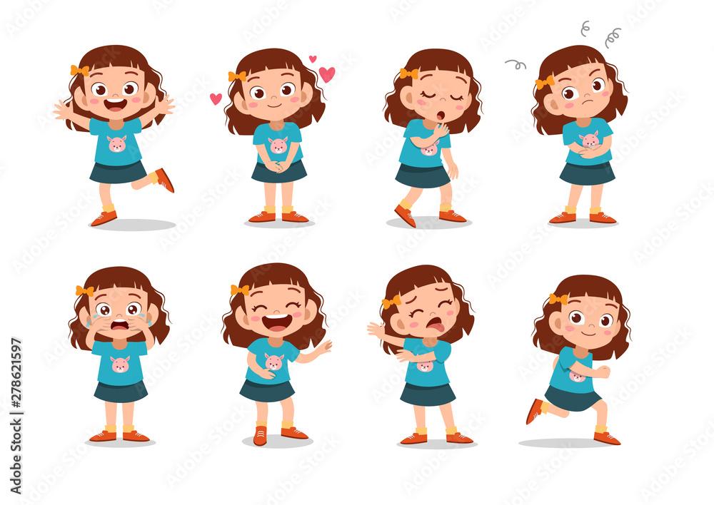 Fototapeta kid child expression vector illustration set bundle