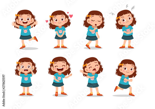 kid child expression vector illustration set bundle Canvas Print