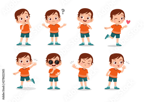 Vászonkép kid child expression vector illustration set bundle