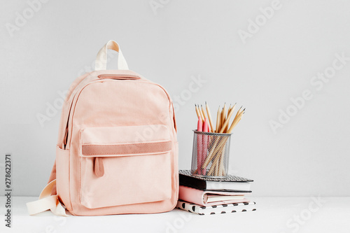 Obraz Backpack with school supplies and books for study. Back to school concept. Flat lay, top view - fototapety do salonu