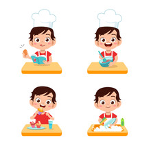 Vector Illustration Of Chef Kids Cooking