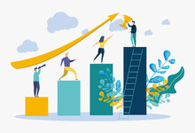 Colorful Vector Illustration, People Run To Their Goal, Move Up By Motivation, Goal Achievement, Concept Of Goal Achievement In Business, Winner, Victory In The First Place, Number One.