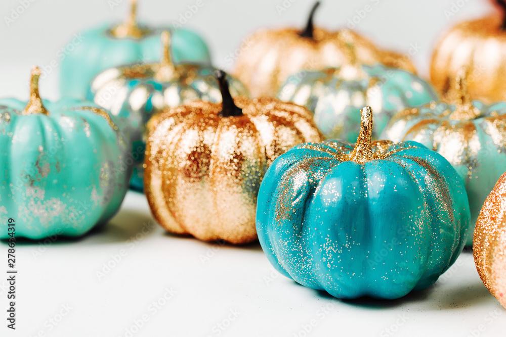 Fototapety, obrazy: Trendy Halloween Shiny Decorative Pumpkins