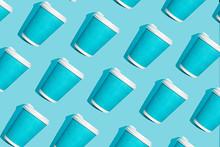 Coffee Pattern Of Blue Paper C...