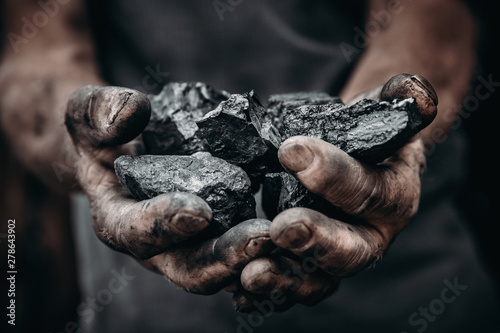 Canvas Print Coal in miner holds. Concept industry mining