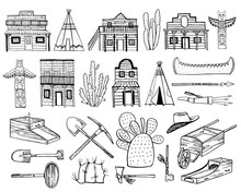 America Old West Set. Native American Indians, Town Houses And Mining Objects. Hand Drawn Outline Sketch Doodle Vector Illustration