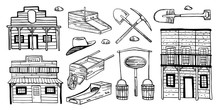 America Old West Houses And Mining Objects Set. Hand Drawn Outline Sketch Doodle Vector Illustration