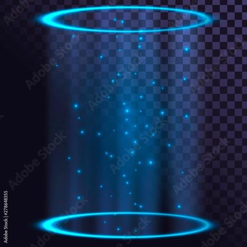 Fotografie, Obraz  Two luminous blue rings, luminous futuristic elements, hologram, portals