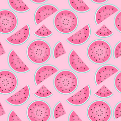 Seamless Pattern Background with Watermelon. Vector Illustration.