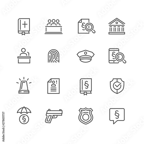 Law and Order Linear Vector Icons Set Slika na platnu