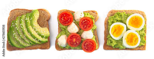 Poster de jardin Légumes frais Slice of Avocado Toast with Toppings Isolated on a White Background