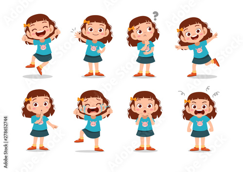Tablou Canvas kid child expression vector illustration set bundle