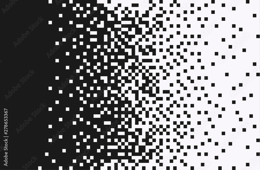 Fototapety, obrazy: The pixels are scattered, dissolve. Vector monochrome style. Abstract random squares, background. Template. Monochrome style.