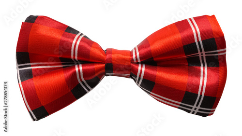 Red Plaid Bow Tie Cut Out Fototapet