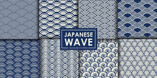 Japanese Wave Seamless Pattern Collection, Abstract Background, Decorative Wallpaper.