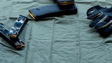 Black Steel Handgun Pistol Mag...