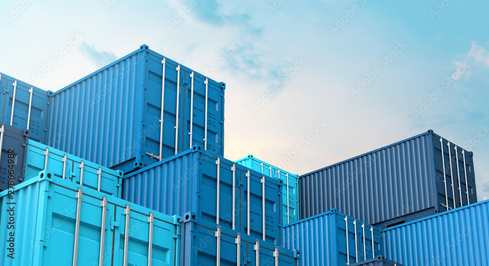 Fototapety, obrazy: Stack of blue containers box, Cargo freight ship for import export 3D