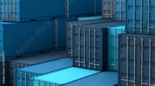 Stack of blue containers box, Cargo freight ship for import export 3D Wallpaper Mural