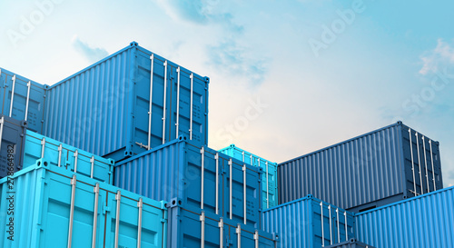 Stampa su Tela  Stack of blue containers box, Cargo freight ship for import export 3D