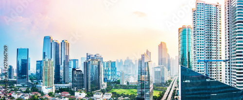 Fototapeta Panoramic Jakarta skyline with urban skyscrapers in the afternoon obraz
