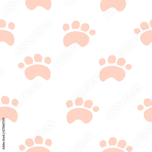 Pink paws on a white background. Design for wallpaper, textiles. Children's illustration.