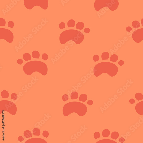 Red paws on a pink background. Design for wallpaper, textiles. Children's illustration.