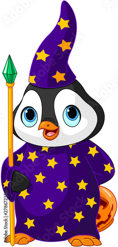 Poster Sprookjeswereld Halloween Penguin Wizard