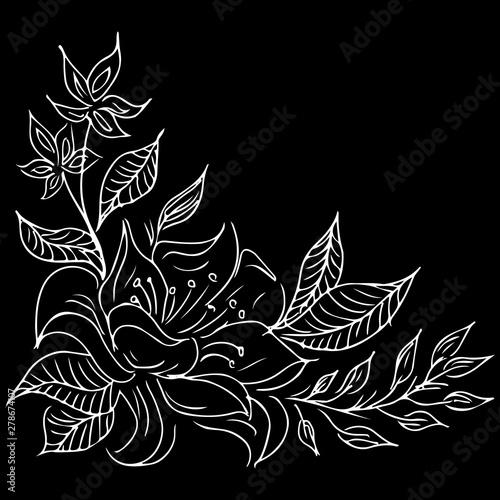 Foto op Canvas Bloemen zwart wit Summer tropical leaf. Floral botanical flower. Hand drawn vector illustration. Tropical leaf palm icon