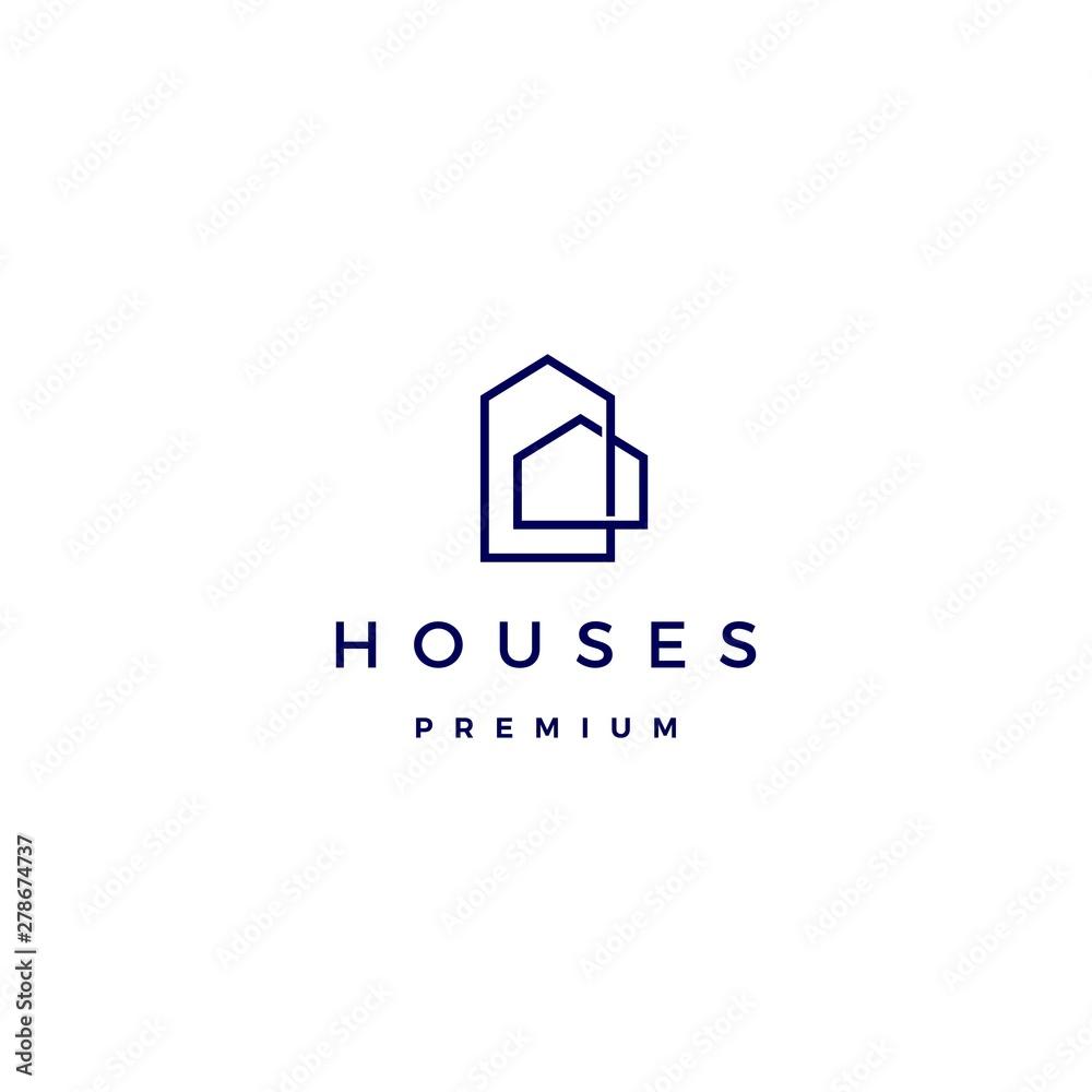 Fototapeta house home architect mortgage facade logo vector icon illustration line outline monoline