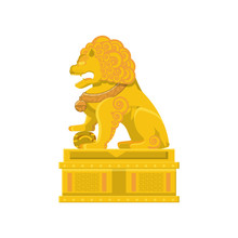 Chinese Lion Statue In Gold Icon